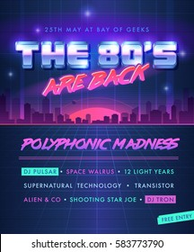 Party poster. The 80's Are Back.