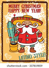 Party poster for christmas with cute Santa in mexican style, vector illustration