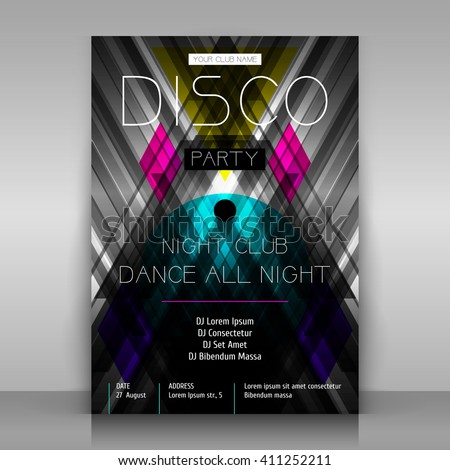 party poster disco flyer symmetrical abstraction stock vector