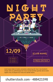 Party poster for night club. Dj in an astronaut suit