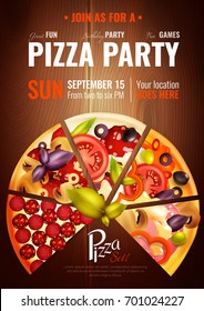 Party poster with slices of different pizza types on wooden background with editable title and date vector illustration