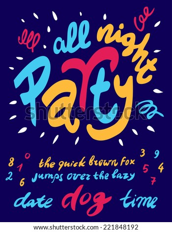 party poster template with all handwritten letters and numbers