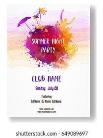 Party poster template for summer party. Orange and purple colored with watercolor imitation design. Vector illustration.