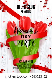 Party poster for Women's Day. Beautiful poster with red tulip and satin ribbon. Vector illustration with serpentine and confetti on wooden texture. Invitation to nightclub.