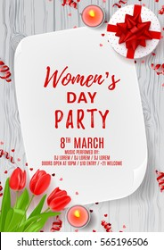 Party poster for Women's Day. Top view on composition with flowers, gift box, candles and confetti. Vector illustration with serpentine on wooden texture. Invitation to nightclub.