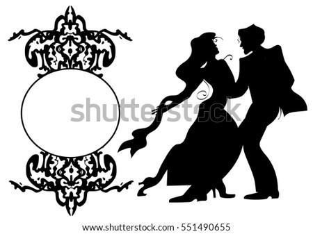 Party Posterdancing Coupleballroom Dance Black Frame Stock Vector ...