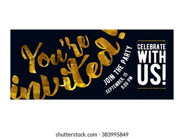 Party premium invitation card poster flyer. Black and golden design template. Yellow mosaic faceted pattern letters on dark background.