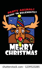 A party reindeer for the concept: A party animal at Christmas, hand drawn vector illustration.
