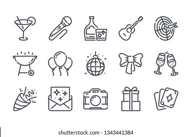Party related line icon set. Event vector icon collection.