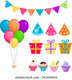 Party set with balloons, presents and cupcakes