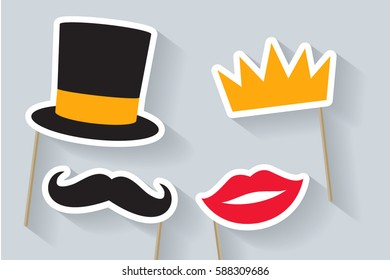 Party set. Concept with cardboard carnival mask. Includes crown, hat, lips and mustache. Masks for a photo shoot.