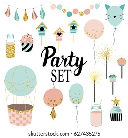 Party set of decorations, toppers, baloons, cakes, garlands with flags. Vector hand drawn illustration, scandinavian style in mint, ping colors with gold glittering elements.