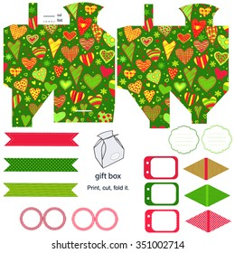 Party set. Gift box template. Empty labels and cupcake toppers and food tags.  Heart and love pattern.