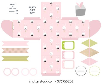 Party set. Gift box template. Empty labels and cupcake toppers and food tags.  Easter bunny pattern.