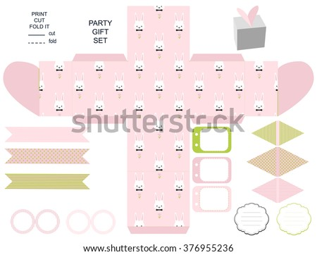 Party set gift box template empty stock vector royalty free gift box template empty labels and cupcake toppers and food tags maxwellsz