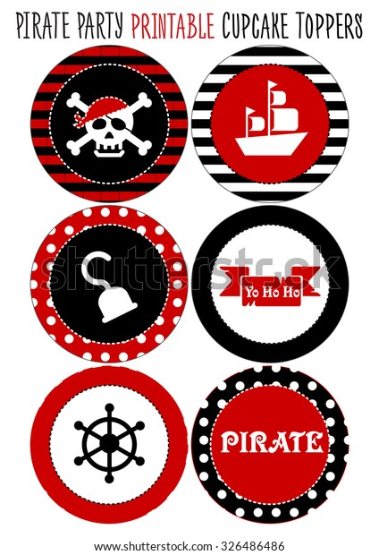 Party Set Printable Pirate Party Eps Stock Vector Royalty
