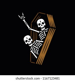 PARTY SKELETONS IN COFFIN BLACK BACKGROUND
