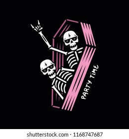PARTY SKELETONS WITH SUNGLASSES IN COFFIN COLOR BLACK BACKGROUND