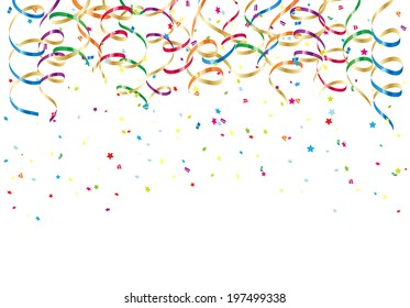 Party streamers and colorful confetti on white background, illustration.