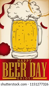 Party with streamers, stamp, stein beer glass in hand drawn style and greeting ribbon to celebrate Beer Day.