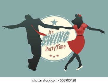 Party Swing: Young couple dancing swing, rock or lindy hop. Retro Stye.