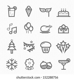 Party symbol line icon on white background vector illustration