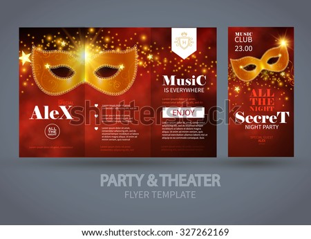 party theater flyer template carnival mask stock vector royalty