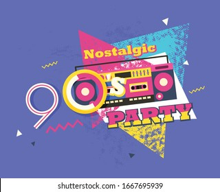 Party time The 90s style label. Vector illustration retro background