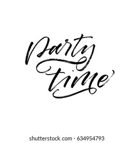 Party time card. Summer lettering. Ink illustration. Modern brush calligraphy. Isolated on white background.