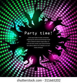 Party time disco background with jumping people silhouettes