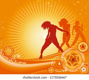 Party time flyer. Dancing hip-hop people. Elegant template with group of young detailed silhouettes of girls. Vector illustration for print or background.