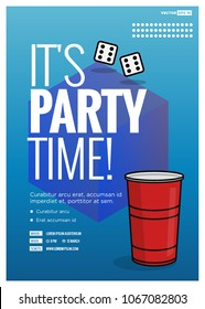 It's Party Time Poster Design Template With Red Glass Time Venue and Date