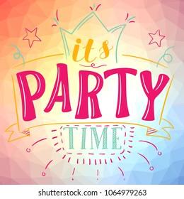 Its party time poster vector illustration social media clip art