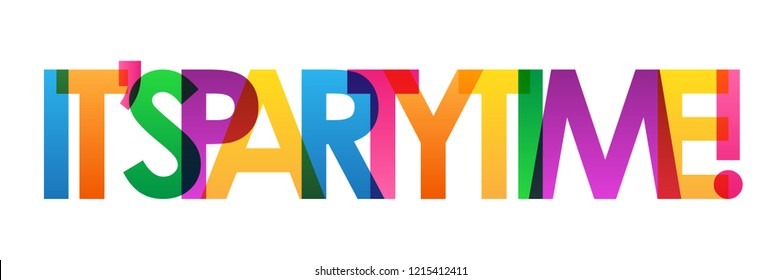 IT'S PARTY TIME! rainbow letters banner