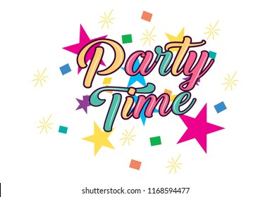 Party Time Sticker. Vector illustration. Isolated on white background.