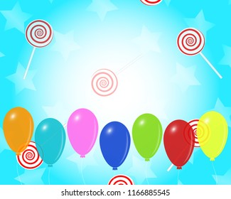 Party vector design with colorful balloons, lollipops, stars, on turquoise and white gradient background, eps 10. Empty space for the text.