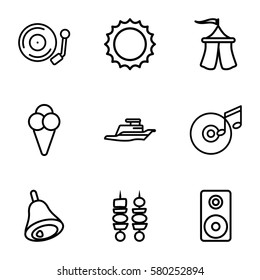Party vector icons. Set of 9 Party outline icons such as gramophone, loudspeaker, disc and music note, bell, ship, sun, kebab, ice cream