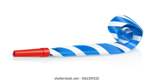 Party whistle for birthday. Childs sound toy with stripe tube. Celebration symbol. Holiday accessories. Funny Festive decoration. Isolated white background. Vector illustration.