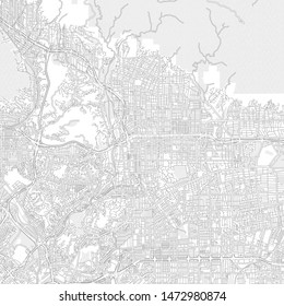 Pasadena, California, USA, bright outlined vector map with bigger and minor roads and steets created for infographic backgrounds.