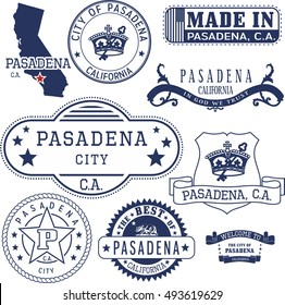 Pasadena city, California. Set of generic stamps and signs.