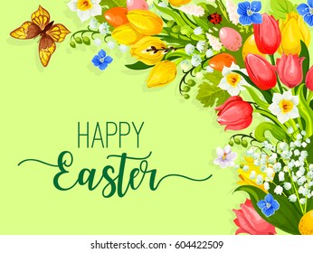 Paschal eggs and flowers for Easter greeting of eggs and spring floral bunch bouquet of tulips, snowdrops and lily of valley. Vector Easter card template for Resurrection Sunday religion holiday