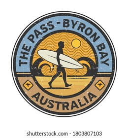 The Pass - Byron Bay, Australia - surfer sticker, stamp or sign design, vector illustration