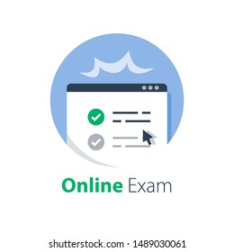 Pass online exam, knowledge review, test score, distant learning, complete course, internet education, fill out e-form and submit, web access and registration, vector flat illustration