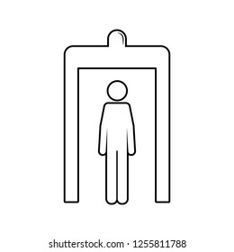 passage of a person through a metal detector icon. Element of cyber security for mobile concept and web apps icon. Thin line icon for website design and development, app