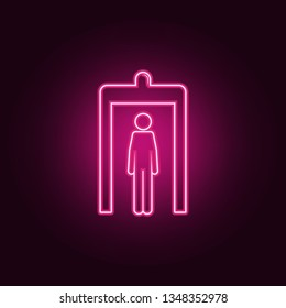 passage of a person through a metal detector icon. Elements of Airport in neon style icons. Simple icon for websites, web design, mobile app, info graphics