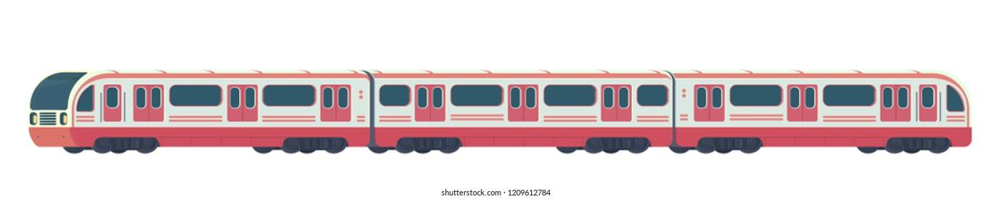 Passanger modern electric high-speed train. Railway subway or metro transport. Underground transport. Vector flat illustration isolated on white.