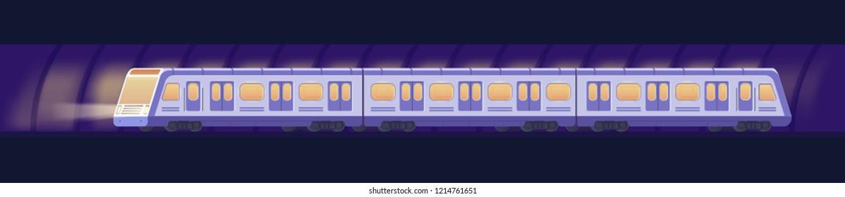 Passanger modern electric high-speed train. Railway subway or metro transport in tunnel. Underground transport. Vector flat illustration.
