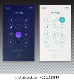 Passcode interface for lock screen, login, enter password pages. Concept of UI design, day and night variants on transparent background. Digital numpad app, user interface kit, 3D illustration.