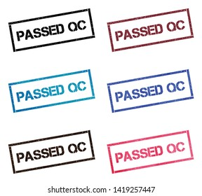 Passed QC rectangular stamp collection. Textured seals with text isolated on white backgound. Stamps in turquoise, red, blue, black and sepia colors. Colourful watercolor style vector illustration.
