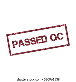 Passed QC rectangular stamp. Texturised red stamp with Passed QC text isolated on white background, vector illustration.